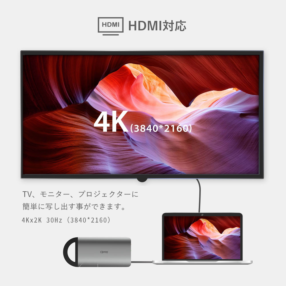 HDMI対応 4k x 2k 30Hz(3840x2160)