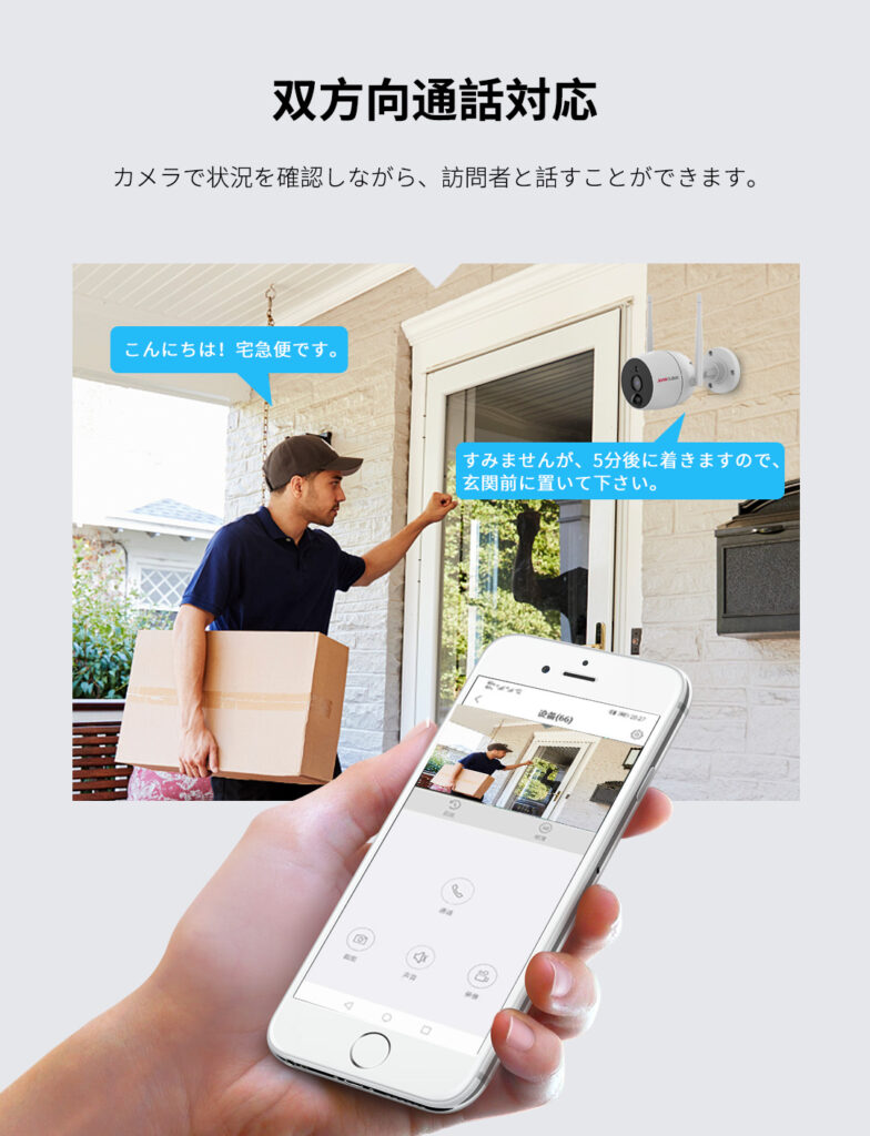 JA-PO1031-WP 双方向通話対応 カメラで状況を確認しながら、訪問者と話すことができます。